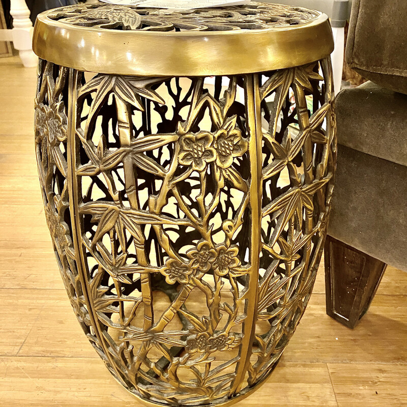 Garden Stool,  Vintage, Brass, Size: 12x18 Fretwork design of bamboo. foliage and scroll patterns.