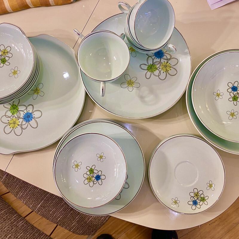 Dish Set, Nobility Permaware, Mid Century, Mist, 39 Pcs