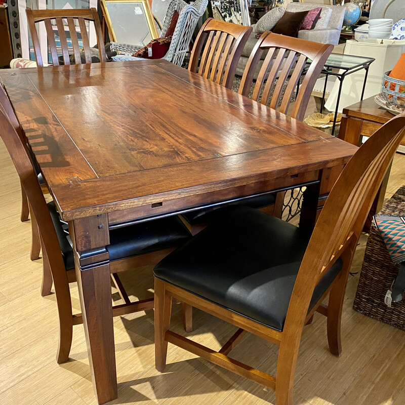 """Dining Table, 6 Chairs & 2- 20\"""" Leaves, EthanAllen-American Impressians,  7 Pcs"""