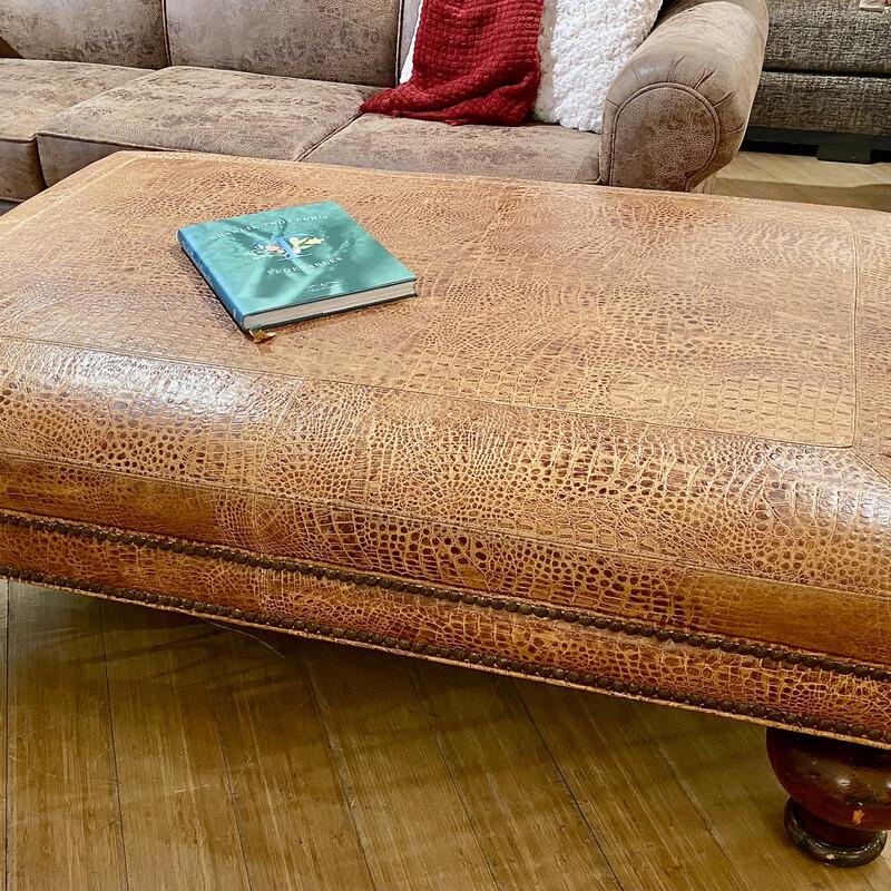 TJ Hooker Leather Ottoman Size: 40x60x18