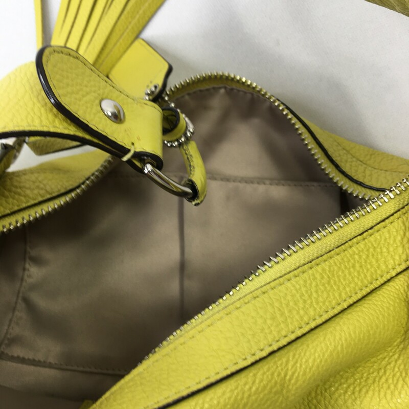 Coach Leather Purse, Green, Size: Purse lime green purse with silver detailing. Tassle and tag on zipper