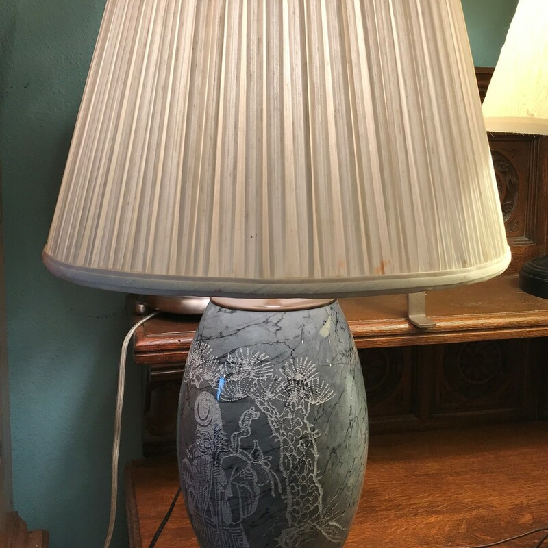 "Table Lamp Carved Stone, Asian, Scolar<br /> Size: 28"" Tall"