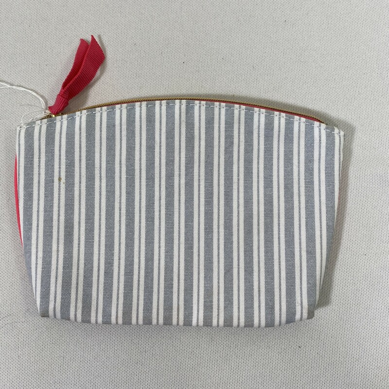 100-271 Striped Pink And, Grey, Size: Makeup Bag