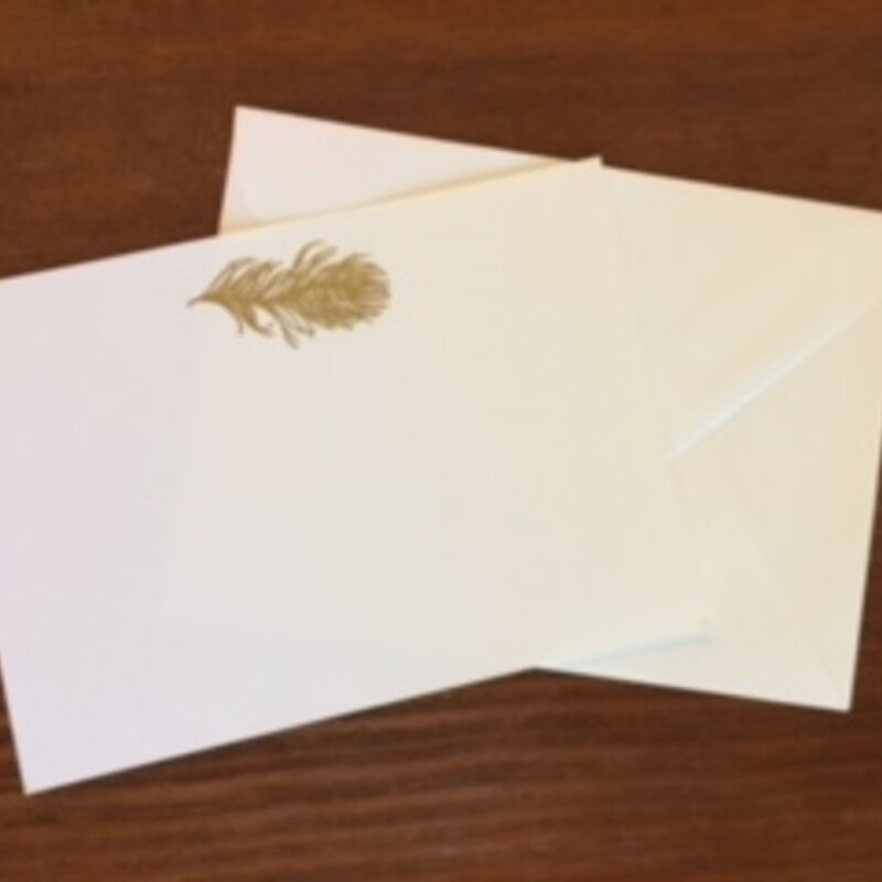 Gold Feather Flat White Fold Card Image Hand Embossed in Gold 10 Cards & Envelopes 5x7 inches JS338